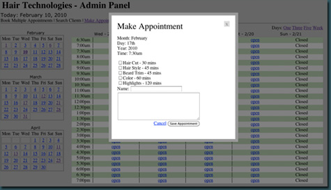 Online website appointment software